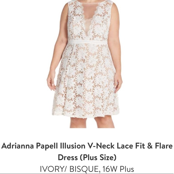 e6e570619ba3f Adrianna Papell Dresses   Skirts - Adrianna Papell Illusion Lace Fit   Flare  Dress